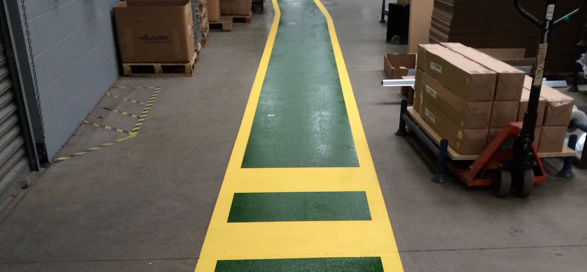 Resin floor paint for safety walkways on production floor in Attleborough